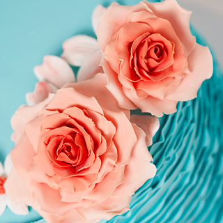 Turquoise Ruffle Cake Coral Roses