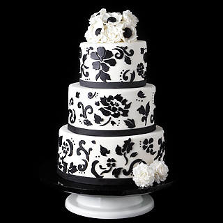 Damask Black and White Wedding Cake